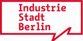 """Grafik mit Schriftzug """"Industrie Stadt Berlin"""" im Design der Kampagne """"be berlin"""""""