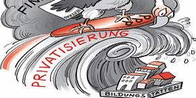 Karrikatur: Pleitegeier surft mittels Private Publicc Partnership auf einer Privatisierungswelle, die Bildungsstätten überrollt, angetrieben vom Sturm der Finanzmarktkrise