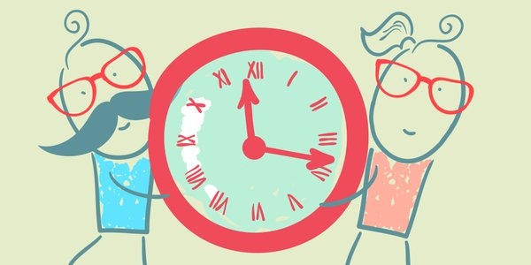 Zeichnung Mann Frau Uhr
