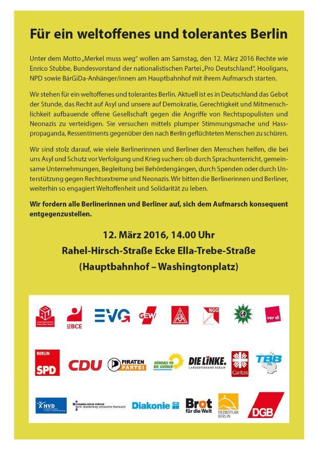 Aufruf Für ein weltoffenes und tolerantes Berlin