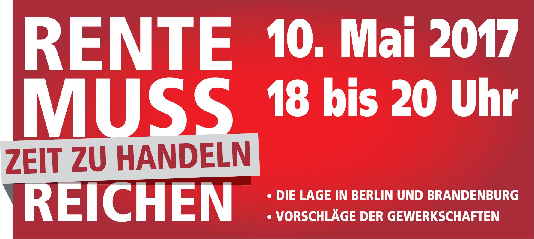 Rente muss reichen! Rentenpolitischen Veranstaltung am 10.Mai 2017