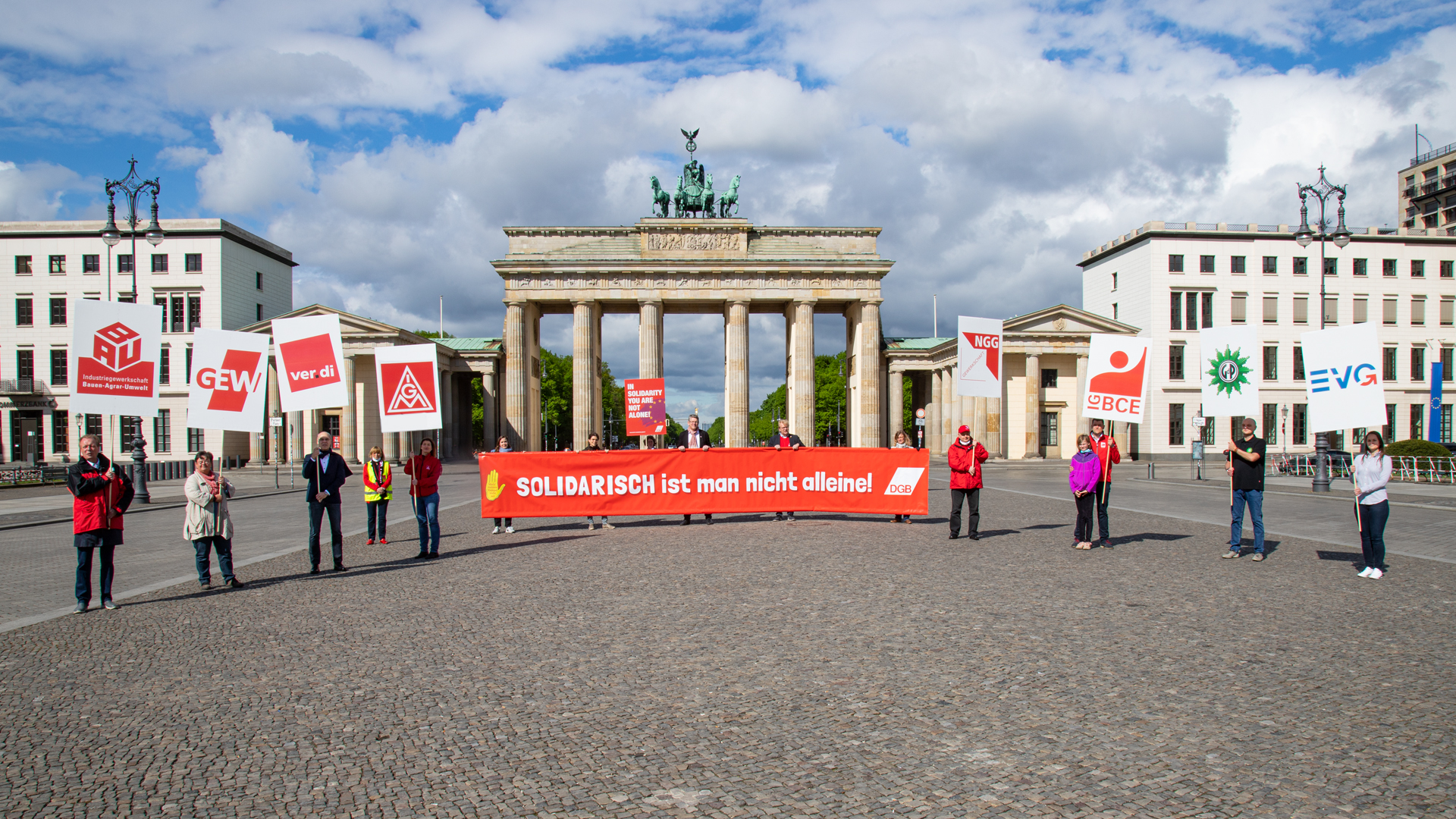 randenburger Tor in Berlin am 1. Mai 2020