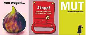 """Grafik Bündnis der Vernunft: Darstellungen von """"Von wegen feige"""", """"Mut müsste man haben"""", """"Stoppt Gewalt"""""""