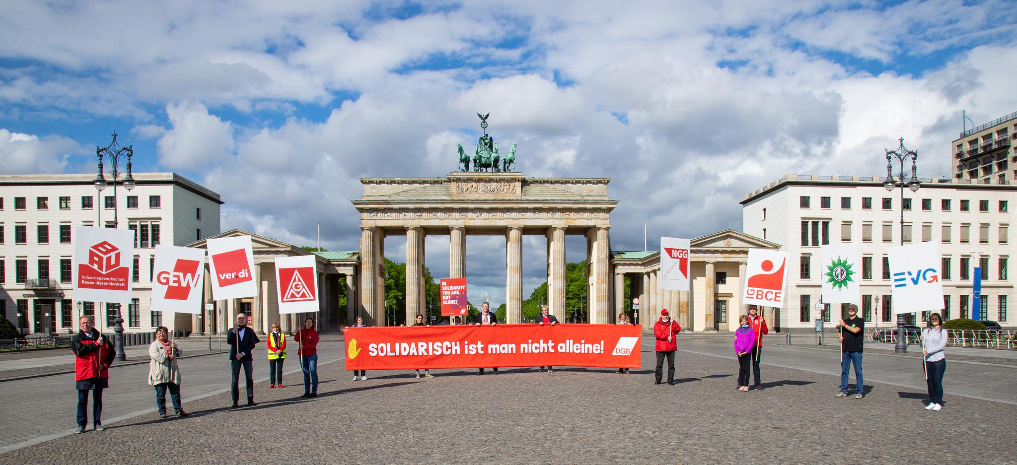 1. Mai 2020, symbolische DGB-Kundgebung am Brandenburger Tor, Berlin