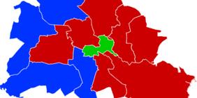 Karte von Berlin mit roten (SPD), grünen (GRÜNE) und blauen(CDU) Wahlkreisen