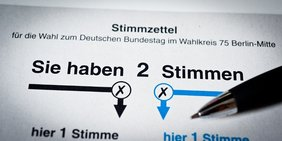 Wahlzettel zur Bundestagswahl