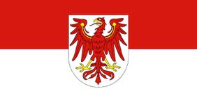 Brandenburger Landesflagge: roter Adler auf rotweißem Grund