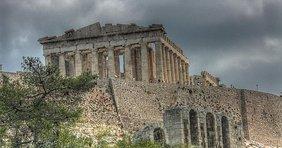 Die Athener Akropolis vom Philopappos-Hügel aus gesehen