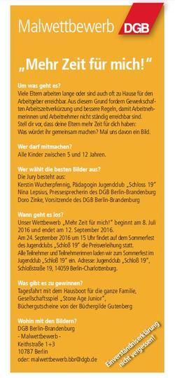 """Ausschreibung Malwettbewerb """"Mehr Zeit für mich!"""""""