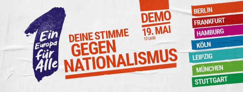 """Banner """"Deine Stimme gegen Nationalismus"""""""
