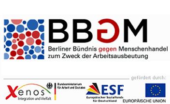 Logo des Berliner Bündnisses gegen Menschenhandel zum Zweck der Arbeitsausbeutung (BBGM)