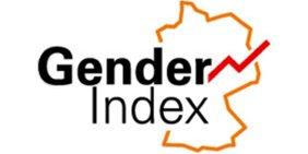 Schriftzug Gender Index mit Umriss der Deutschlandkarte und ansteigendem Liniendiagramm