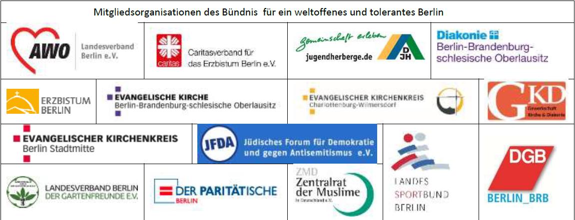 Mitgliedsorganisationen des Bündnis für ein weltoffenes und tolerantes Berlin